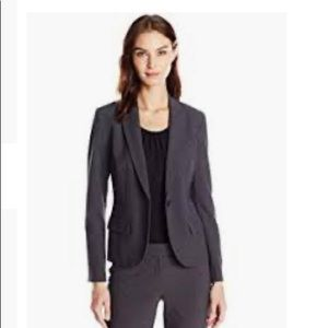 Anne Klein Suits one button charcoal blazer